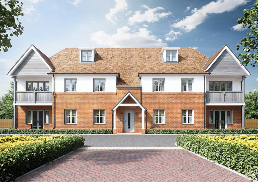 A front on view of our Woodland Rise development in Great Chesterford