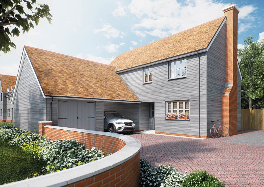 A view of the garage and driveway of our Woodland Rise development in Great Chesterford