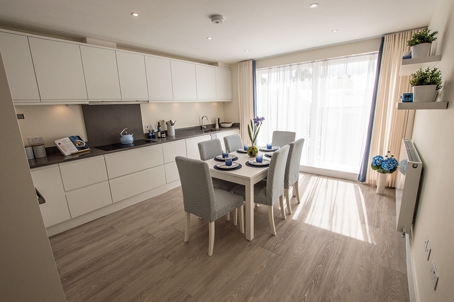 An inside look of the kitchen/dining room at our Barley Mews, Great Shelford development in Cambridge