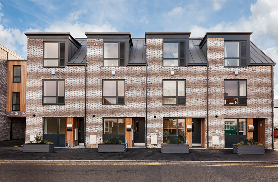A front on view of the Barley Mews, Great Shelford development in Cambridge